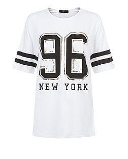 Top ado blanc à imprimé 96 New York | New Look
