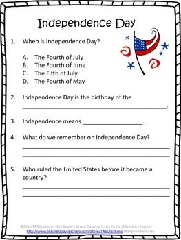 """Fourth of July: Learn about Independence Day with these guided worksheet activities and worksheets!  **This product goes along with the book """"Independence Day (Rookie Read-About Holidays)"""" by David F. Marx, but could also be used with your own unit! **  In this product you will receive the following printable worksheets that could be made into a packet:  Cover page that can be colored 2 worksheets with comprehension questions from the book (multiple choice and short answer) 2 Writing Prompt…"""