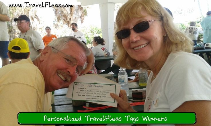 Pinellas Geocaching Event a Success! Thanks to the organizers,  Duane and Dave of the Pinellas Geo Event at Ft Desoto Park,  for inviting TravelFleas™ to join in on this geocaching good time! Pictured are the winners of the coveted door prize with their certificate toward a set of one pack of 10 TravelFleas™ Tags.  Rick and Carol were very happy with their prize and look forward to receiving their personalized attachable TravelFleas™ tags in the mail soon.