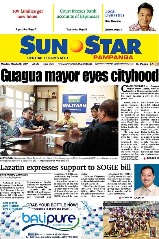 Sun.Star website provides news and information from communities, including Pampanga in Central Luzon. It is your link to home in the Philippines.
