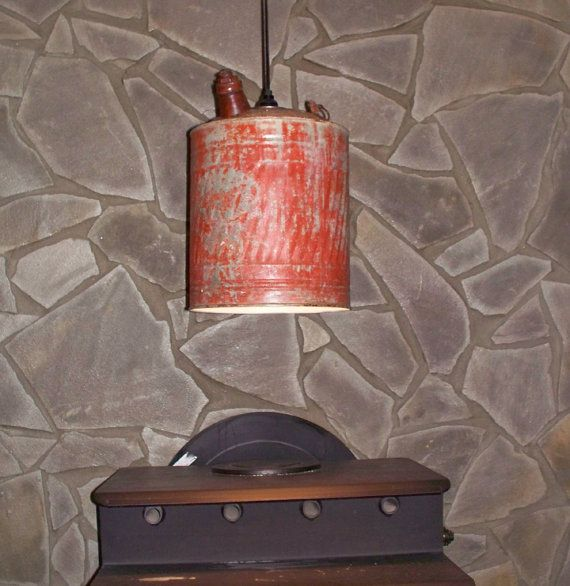 Vintage And Industrial Lighting From Etsy: Vintage Gas Can, Pendant Lighting, Upcycled Lighting, Re