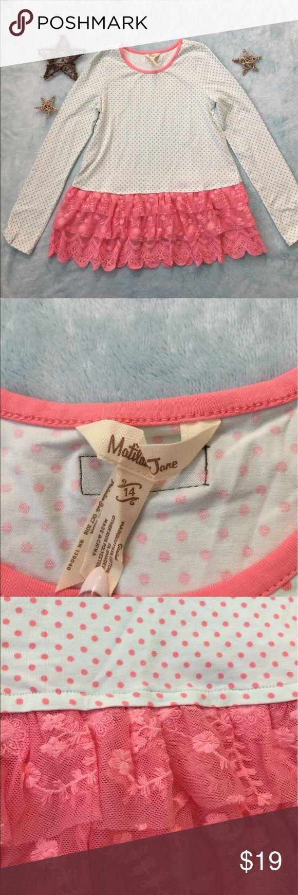 Selling this NWOT Matilda Jane Lace Ruffle hem Polka dot Tee on Poshmark! My username is: evabizek. #shopmycloset #poshmark #fashion #shopping #style #forsale #Matilda Jane #Other