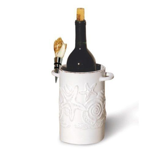 Shell Wine Bottle Cooler with Shell Stopper . $24.95. The Shell Wine Bottle Cooler with Shell Stopper is a wine bottle holder and cooler to fit any beach or coastal home in style. The Shell Wine Bottle Cooler is embellished with seashells in relief and comes with a natural shell wine bottle stopper.