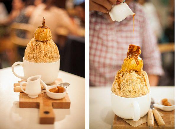 Bingsu, a shaved ice and ice cream concoction popular in Korea. Aka bingsoo, patbingsu, patbingsoo // photo by Ken Lum Lee