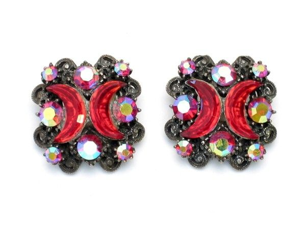 Florenza Unsigned Rare Red Crescent Earrings