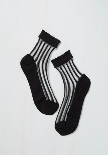 Find a sweeter set of black socks than this pair? We think not! Topping off their solid knit and sheer striped panels with subtly scalloped ankles, these chic crew socks are as stylish as they come!