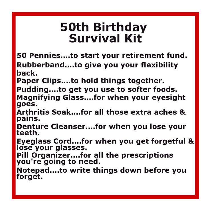 Delightfully Noted: 50th Birthday Survival Kit