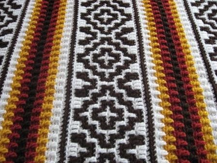 Southwestern Style Crochet Afghan Blanket Ready to Ship