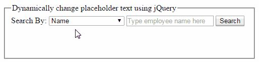 jQuery to Dynamically Change or Set Placeholder Text in Asp.Net TextBox on DropDownlist Selected Item Change http://www.webcodeexpert.com/2016/01/jquery-to-dynamically-change-or-set.html In this article I have explained How to dynamically change or set placeholder text in Asp.Net TextBox or Multiline Textbox using jQuery on DropDownList selected item change.