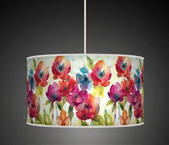 30cm Multi Colour Watercolour Flowers / Floral Handmade Giclee Style Printed Fabric Lamp Drum Lampshade Floor Ceiling Pendant Light Shade 635: Amazon.co.uk: Lighting