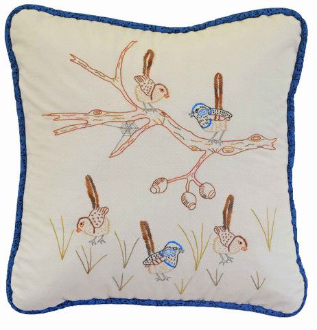 $7  The Blue Wrens are the first in a series of 12 Australian Bird Stitcheries.    Involves simple stitchery techniques.    We have made up the stitcheries as cushions and the instructions are included to do this.  Make all 12 and turn them into a quilt or wrap individual designs around art canvases and hang them on the wall.