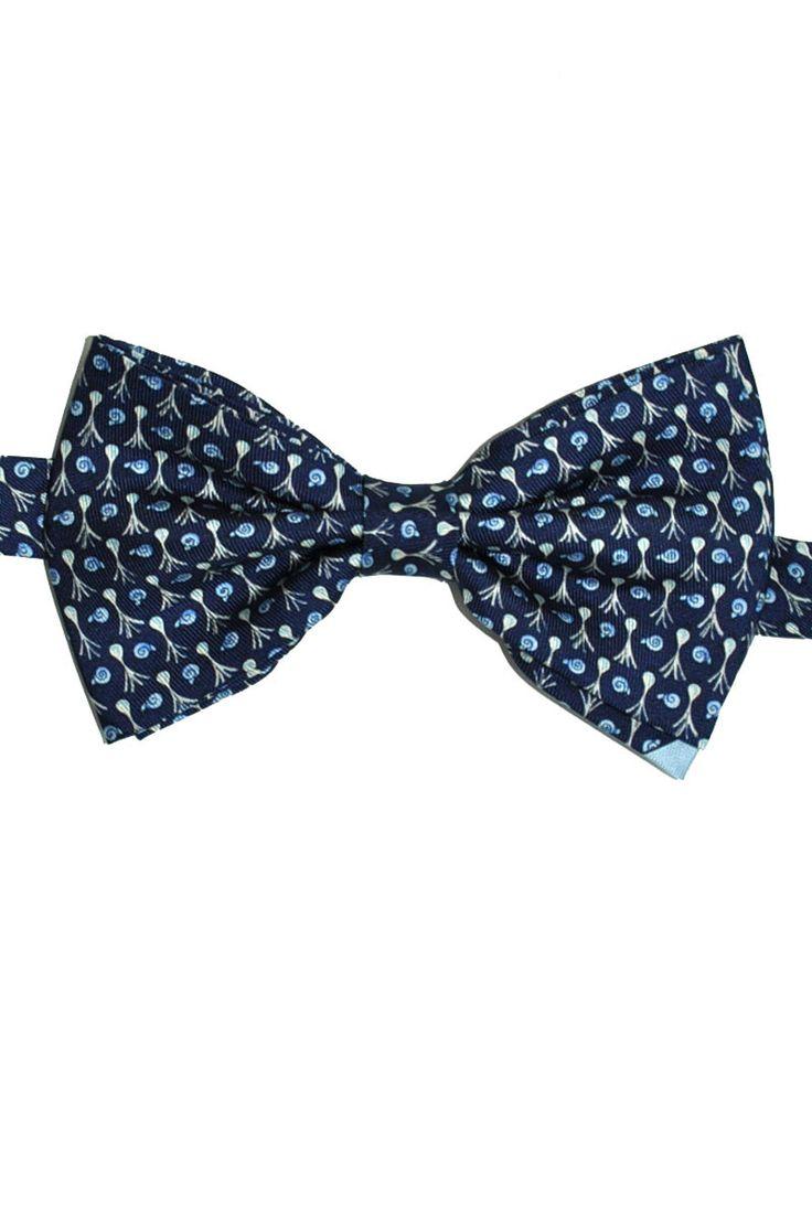 Pre tied bow tie - Small dark blue diamond dots on green Notch Jonjk
