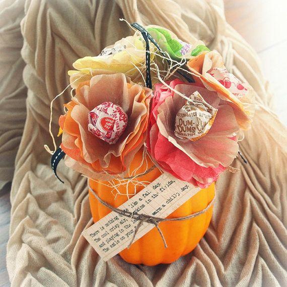4 Thanskgiving Fall Autumn Halloween Pumpkin Tissue Paper Flower Lollipop Sucker Centerpiece