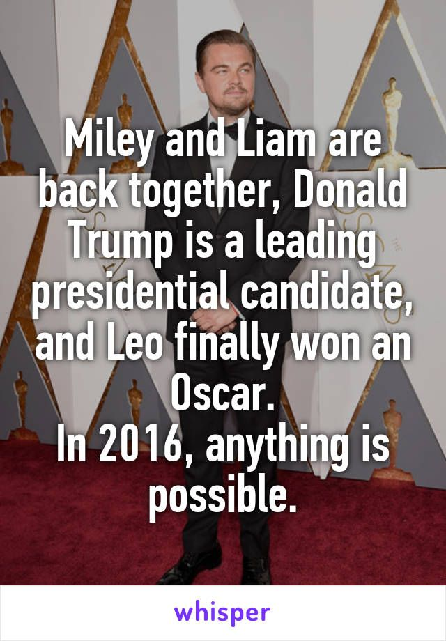 Miley and Liam are back together, Donald Trump is a leading presidential candidate, and Leo finally won an Oscar. In 2016, anything is possible.