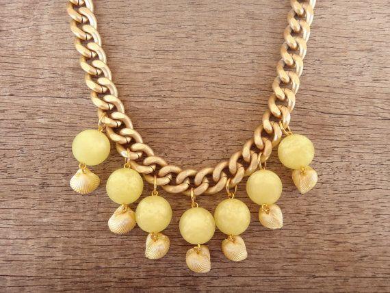 Yellow Sea Shell Charms Yellow Acrylic Ball Beads Gold by Twininas, €24.00
