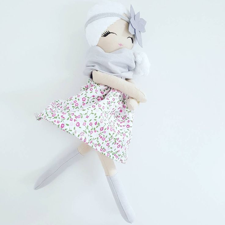 Cloth doll, fabric doll, rag doll. Removable skirt, scarf and headband