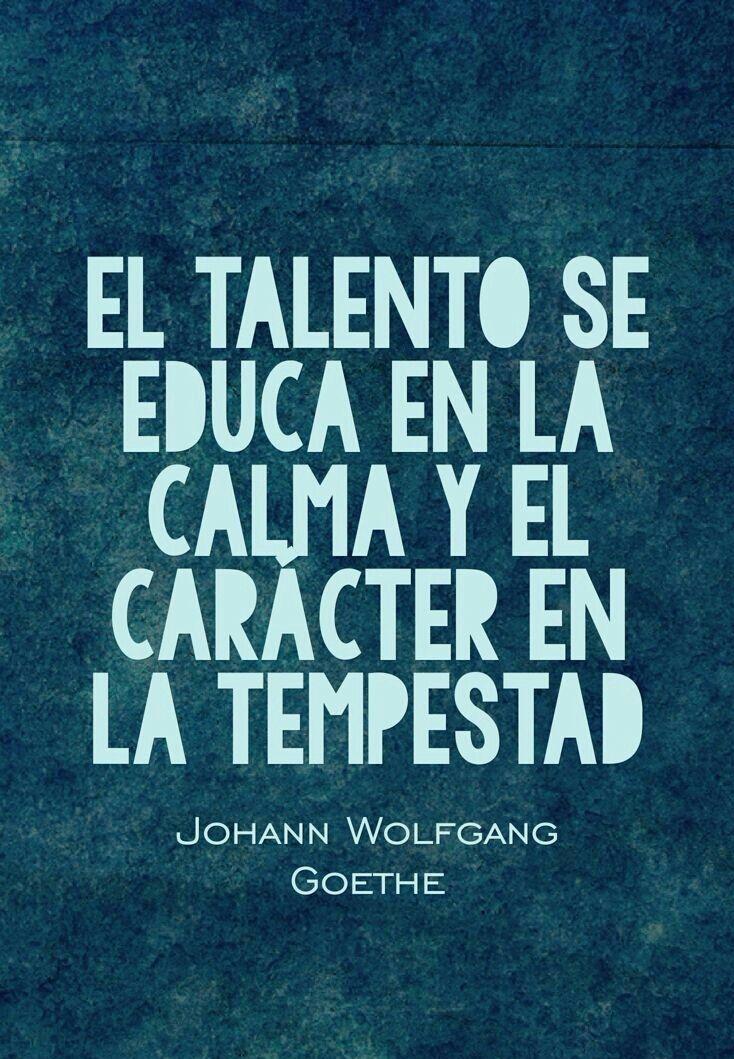 """""""El talento se educa en la calma y el caracter en la tempestad."""" -Johann Wolfgang Goethe"""