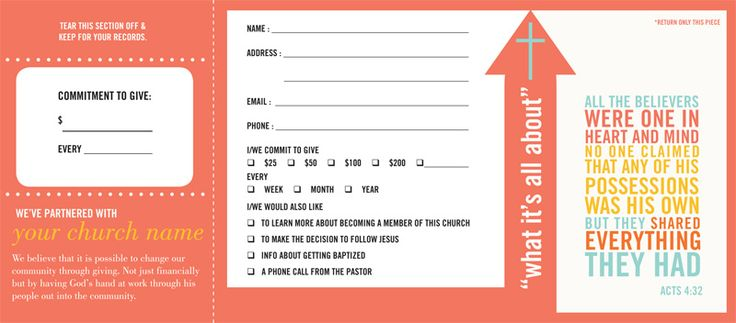 Pledge And Welcome Cards Church Offering Envelopes By