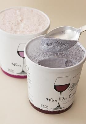 Wine ice cream. 5% alcohol.....some people inmy family will be fatter and drunker! Great.