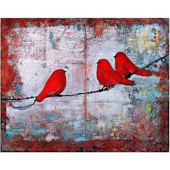 Drie schattige rode vogels zitten zat op een krullend gedraaide draad die zich over een zilveren leeftijd & verweerde achtergrond met verontruste rode randen tonen uitstrekt door. Dit is een fine-art giclee print van een van mijn originele schilderijen, die wordt verkocht, en maakt deel uit van mijn vogels op een draad-reeks ondertekend.  -Titel: Let die it Be -Maten: unmatted 8 X 10 of 8 X 10 gematteerd tot 11 X 14 -Ondertekende Fine-Art Print -door Blenda Tyvoll (me)  Wij bieden een kor...