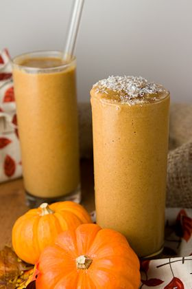 Pumpkin Chai Smoothie -  Spiced vegan smoothie that combines two classic Fall flavors, pumpkin and chai. Ingredients 1½ cup non-dairy milk – I used unsweetened almond milk ½ cup canned or fresh pureed pumpkin 1 medium banana, frozen 1 tablespoon chia seeds 2 medjool dates, pitted 1 knob of fresh ginger 1 ½ teaspoon homemade chai spice ½ teaspoon pure gluten-free vanilla extract 4 ice cubes