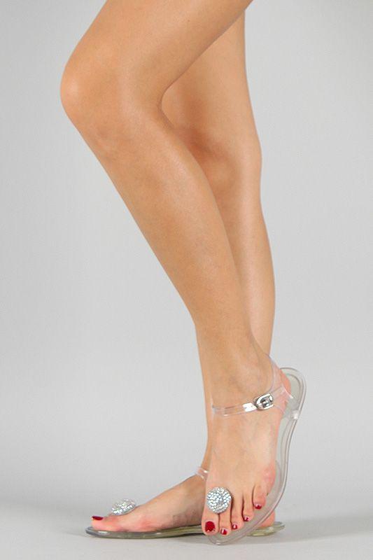 Bamboo Amaya-02 Jelly Jeweled Toe Ring Flat Sandal