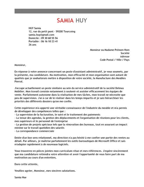 Lettre de Motivation Assistant Administratif | Exemple Lettre de Motivation…