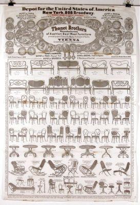 RARE 1873 THONET BENTWOOD FURNITURE BROADSIDE CATALOG