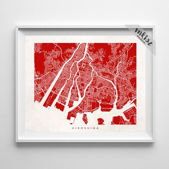Hiroshima Map, Japan Print, Hiroshima Poster, Japanese Art, Nihon, Dorm Wall Decor, Home Town, Giclee, Wedding Gift, Christmas Gift, Wall Art. PRICES FROM $9.95. CLICK PHOTO FOR DETAILS., inkistprints, map, streetmap, giftforher, homedecor, nursery, wallart, walldecor, poster, print, christmas, christmasgift, weddinggift, nurserydecor, mothersdaygift, fathersdaygift, babygift, valentinesdaygift, dorm, decor, livingroom, bedroom