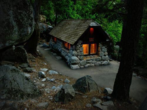 Tiny stone house in Yosemite, California.