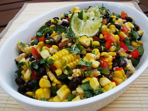 Roasted Corn & Black Bean Salad-    Roasted Corn & Black Bean Salad      2 cups (3 ears) roasted corn      1 (16 oz) can black beans, drained and rinsed      ¾ cup red pepper, small diced      2 Tbl. shallot, minced      2 Tbl. jalapeño pepper, minced      3 Tbl. cilantro, roughly chopped      2 Tbl. olive oil      2 – 3 Tbl. lime juice      pinch salt and pepper to taste        Roast corn according to my Oven Roasted Corn on the Cob post. Allow to cool and remove the kernels from the cob…