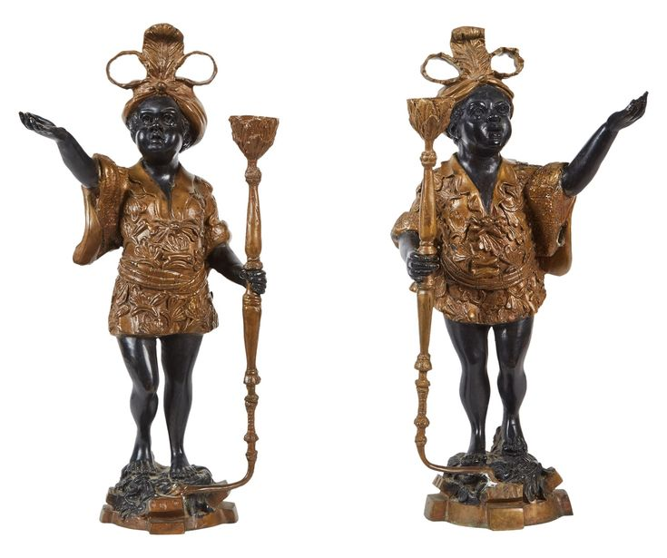 Pair Of 19th C Female Patinated Bronze Blackamoor  Folk Art, Traditional, Metal, Mixed Media, Sculpture by Susanne Hollis, Inc