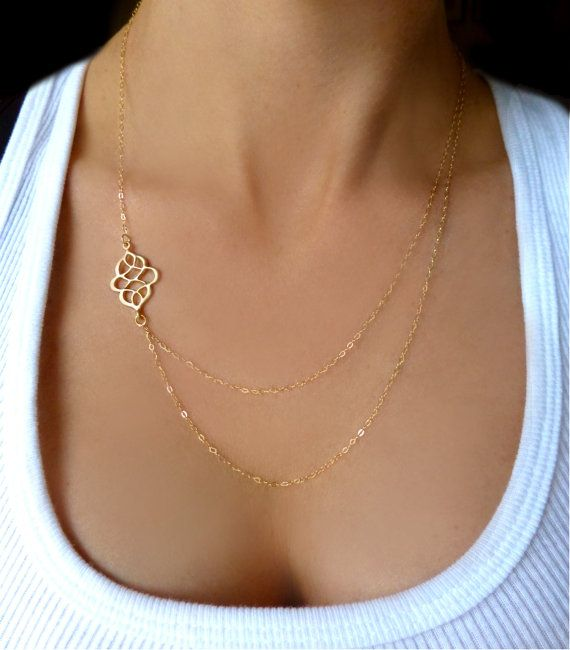 Double Strand Necklace Gold or Silver - Modern Multi Strand Layered Asymmetrical Necklace - Long Layered Sideways Charm Necklace - Gift