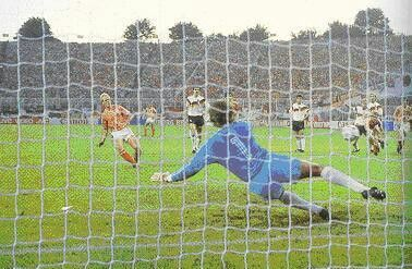 West Germany 1 Holland 2 in 1988 in Hamburg. Ronald Koeman equalises from the penalty spot on 74 minutes in the Semi-Final of Euro '88.