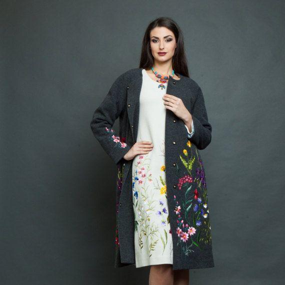 Cappotto ricamato lungo lana donne cappotto di lana cappotto