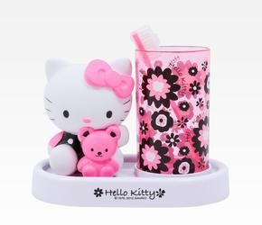 Hello Kitty toothbrush set, in my fav. colors, black white and pink.