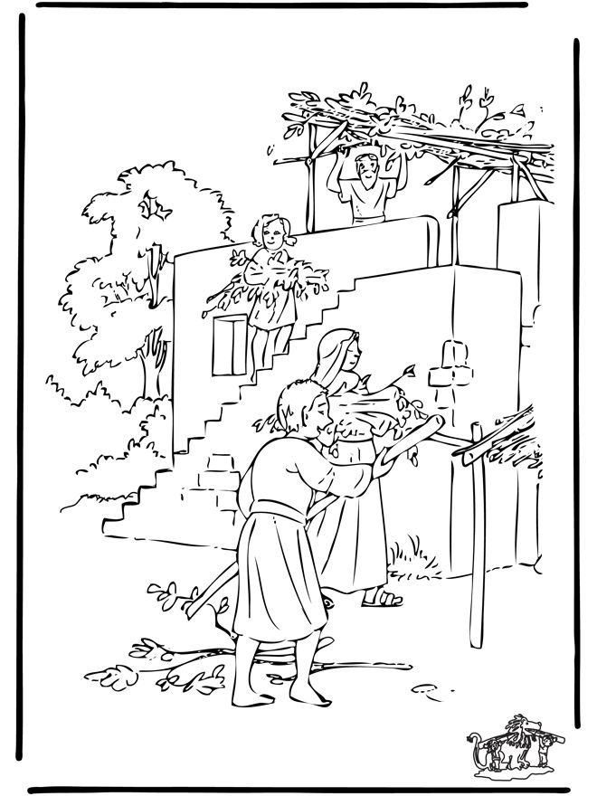 Sukkah coloring page and misc feast days sukkot for Tabernacle coloring pages free