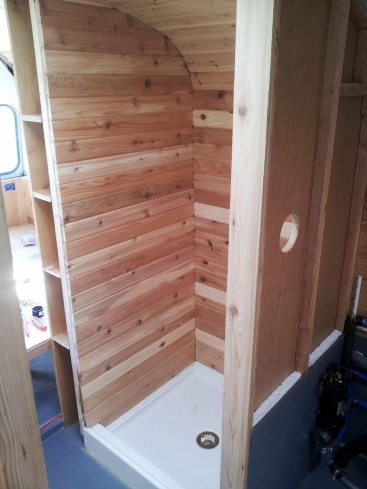 Cedar tongue and groove shower installation. Sealed with clear penetrating epoxy sealer then coated with marine grade spar varnish.Our Bus, Our Home - Page 10 - Skoolie.net