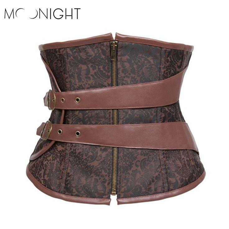 MOONIGHT 2016 New Style Zipper Up Bodysuit Gothic Steel Boned Corsets Bustier Brown Corselet underbust slim bustiers