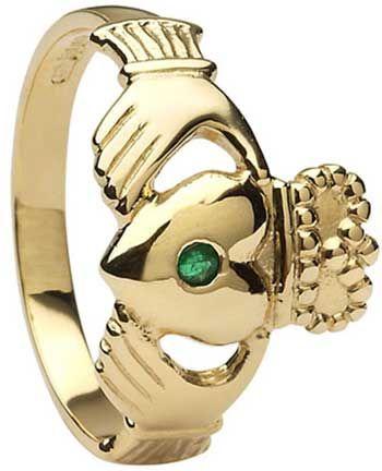 IrishJewelryOnline.com: Mens white or yellow Gold Emerald Set Claddagh Ring