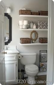 Floating shelves for blank bathroom wall I master bath