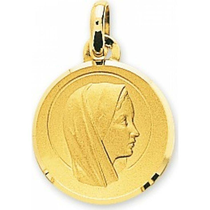 Virgin Mary Diamond Shaped Gold Pendant - Murat Paris
