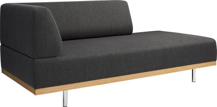 """Fifties lounger i mørk grå """"Tarantella"""" stoff i 100% bomull. Dimensjoner: L180 x H75 x D84cm. Setehøyde: 42cm,setedybde: 60cm. Kr. 6840,-"""