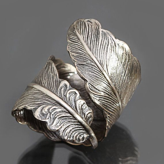 Womens Thumb Ring Men Thumb Ring Feather Ring by DesignsBloom