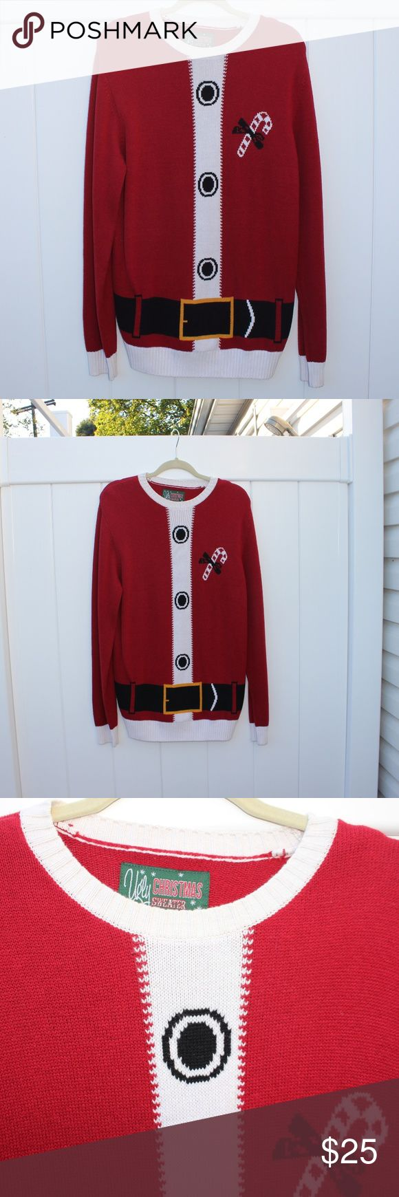 "[Ugly Christmas Sweater] Santa Suit Long Sweater So perfect for Christmas! Ugly Christmas Sweater brand long sweater for the holiday season! The sweater is a Santa suit design with a candy cane on the chest. The sweater shows some wear but is overall in good used condition!  Size- Large RN 63925 Length from the top of the shoulder to the bottom is about 32"" Armpit to Armpit about 21"" across Unisex sweater - for both men and women!  For a woman this sweater would look adorable over black…"