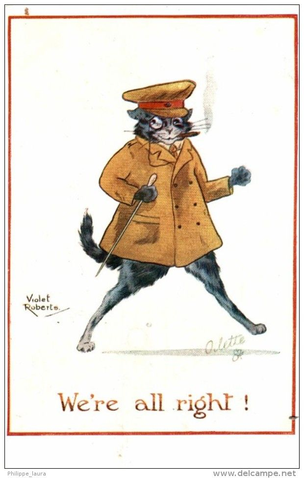 WE´RE ALL RIGHT 1918     TUCK´S POSTCARD  VIOLET ROBERTS   Chat Humanisé-Chats-Cat-Kat-Katze GATO GATOS - Gatos @postaltrip #1918 #gatos #cats #tuckpostcard