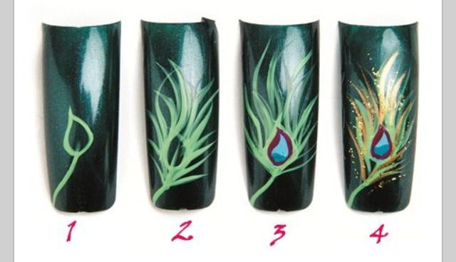Nail Art : peacock feather
