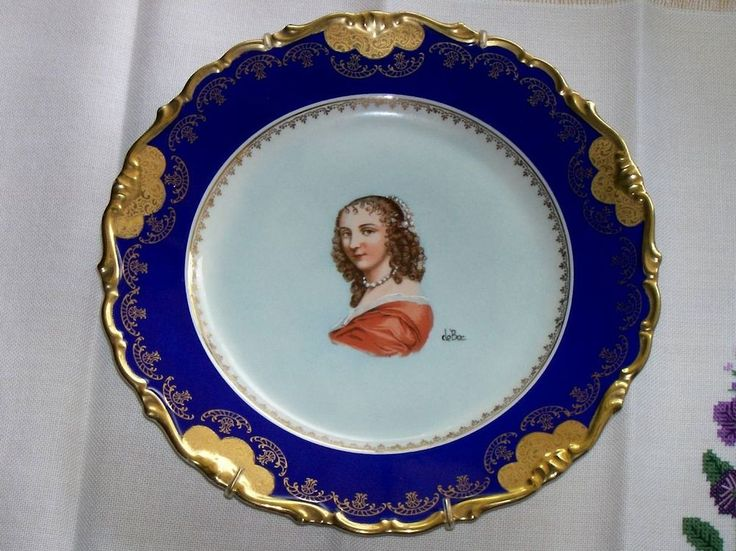 Vintage Imperial Bavaria Porzellan portrait plate signed deBec Germany US Zone #ImperialBavaria