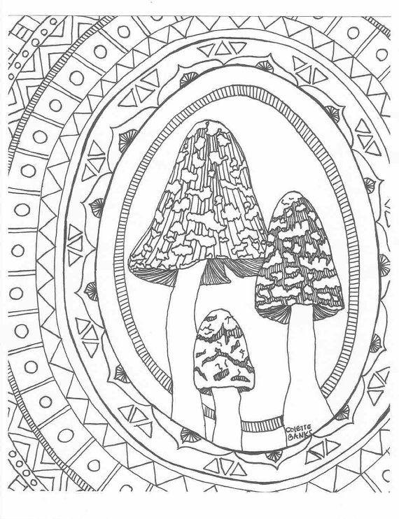 204 best adult colouring mushrooms toadstools zentangles images on pinterest fungi. Black Bedroom Furniture Sets. Home Design Ideas