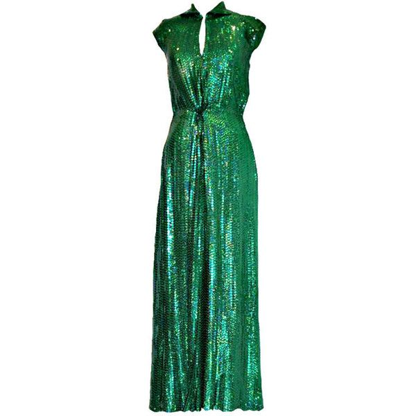 Halston Emerald Green Sequin Gown ❤ liked on Polyvore featuring dresses, gowns, vestidos, evening gowns, halston, green gown, green evening gown, emerald green evening gown, emerald green evening dress and emerald green ball gown